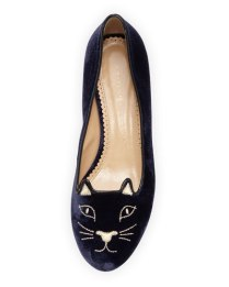 Charlotte Olympia Kitty Velvet Cat-Embroidered Flats